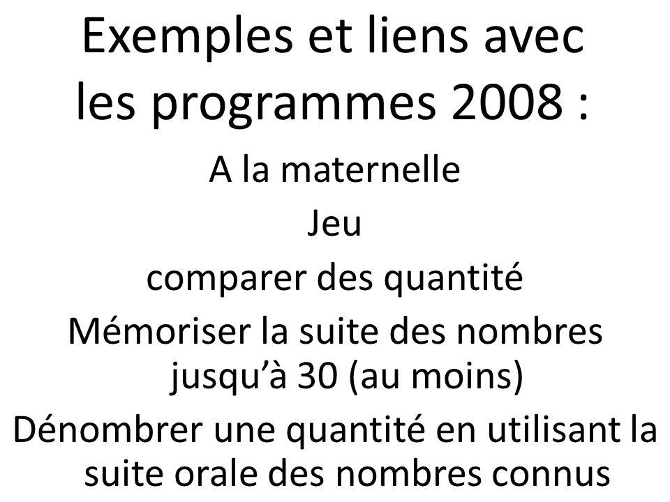 Exemples et liens avec les programmes 2008 : A la maternelle Jeu comparer des quantité Mémoriser la suite des nombres jusquà 30 (au moins) Dénombrer u