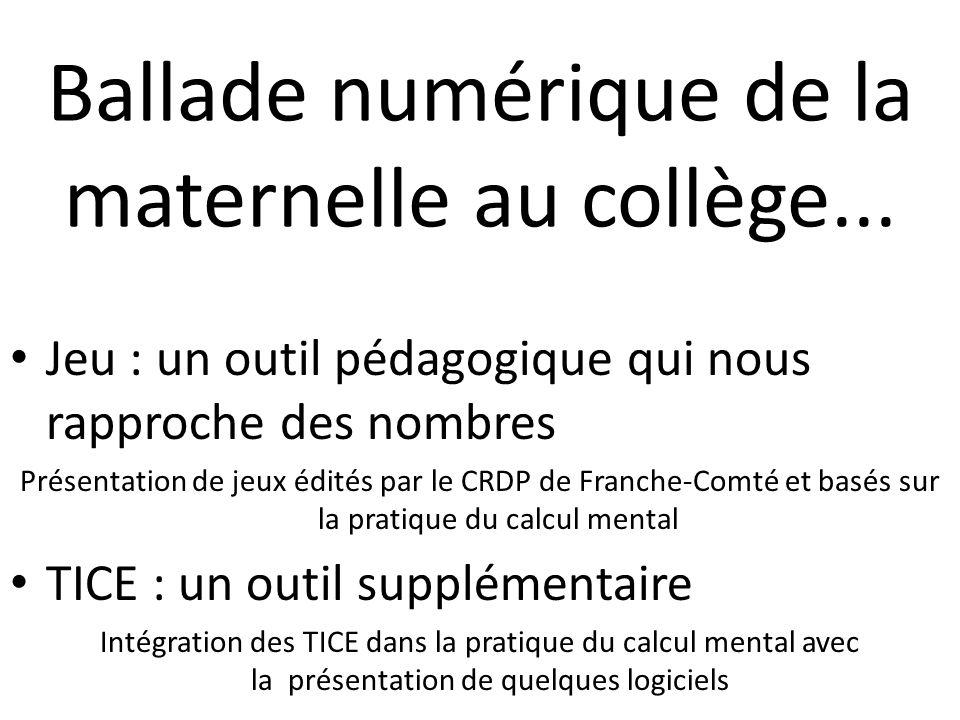 Ballade numérique de la maternelle au collège... Jeu : un outil pédagogique qui nous rapproche des nombres Présentation de jeux édités par le CRDP de