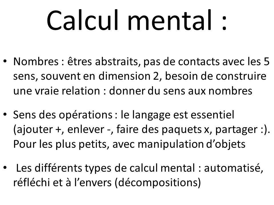 Calcul mental : Nombres : êtres abstraits, pas de contacts avec les 5 sens, souvent en dimension 2, besoin de construire une vraie relation : donner d