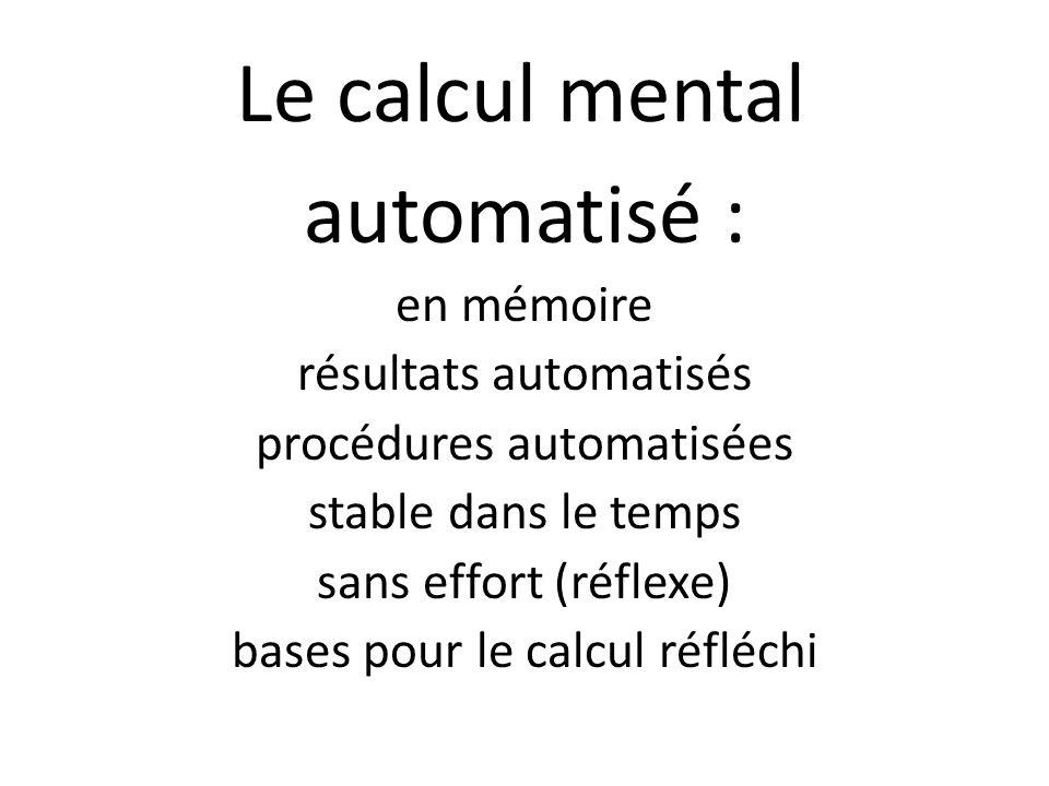 Le calcul mental automatisé : en mémoire résultats automatisés procédures automatisées stable dans le temps sans effort (réflexe) bases pour le calcul