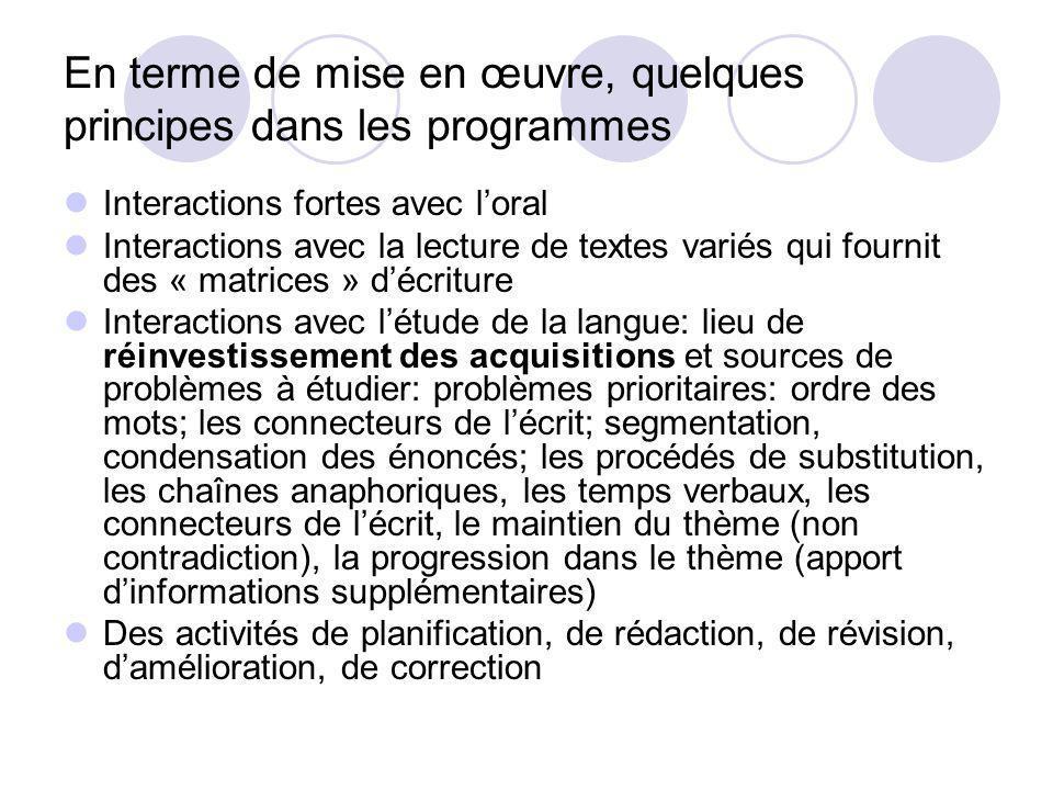 En terme de mise en œuvre, quelques principes dans les programmes Interactions fortes avec loral Interactions avec la lecture de textes variés qui fou