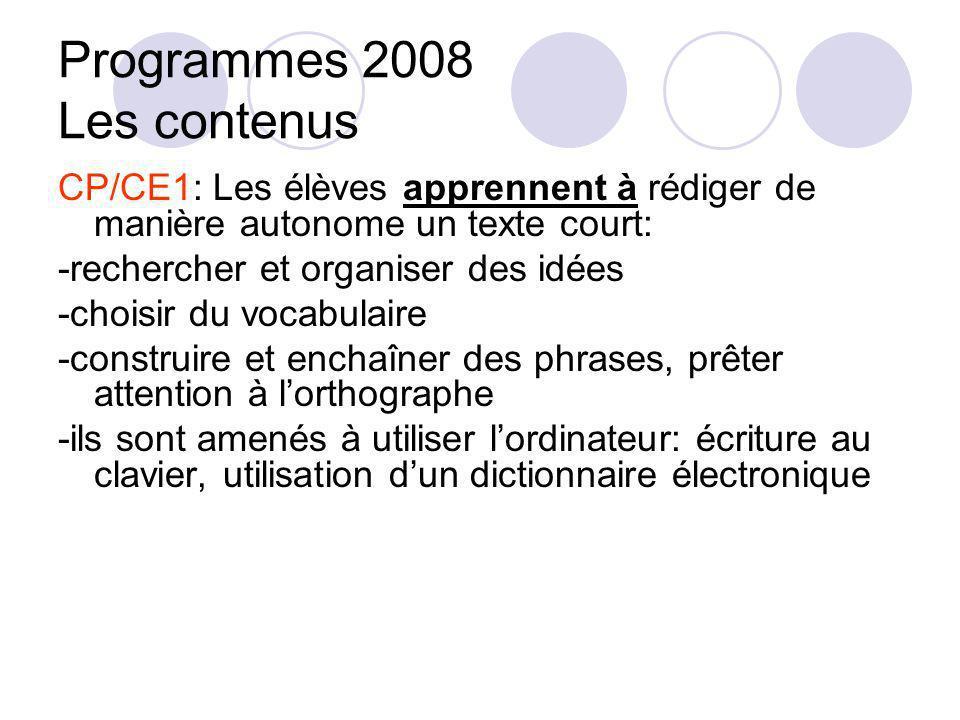 Programmes 2008 Les contenus CP/CE1: Les élèves apprennent à rédiger de manière autonome un texte court: -rechercher et organiser des idées -choisir d