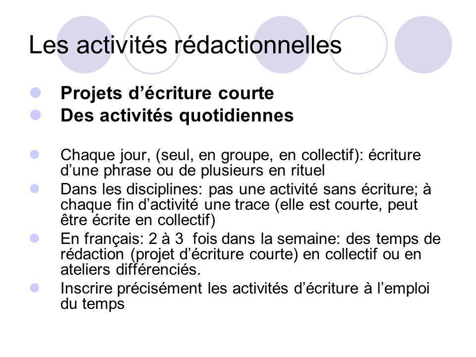 Les activités rédactionnelles Projets décriture courte Des activités quotidiennes Chaque jour, (seul, en groupe, en collectif): écriture dune phrase o