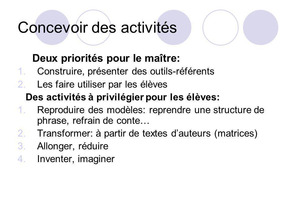 Concevoir des activités Deux priorités pour le maître: 1.Construire, présenter des outils-référents 2.Les faire utiliser par les élèves Des activités