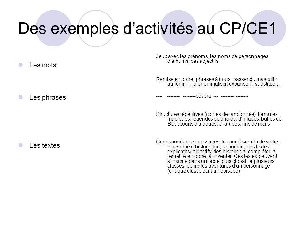 Des exemples dactivités au CP/CE1 Les mots Les phrases Les textes Jeux avec les prénoms, les noms de personnages dalbums, des adjectifs Remise en ordr