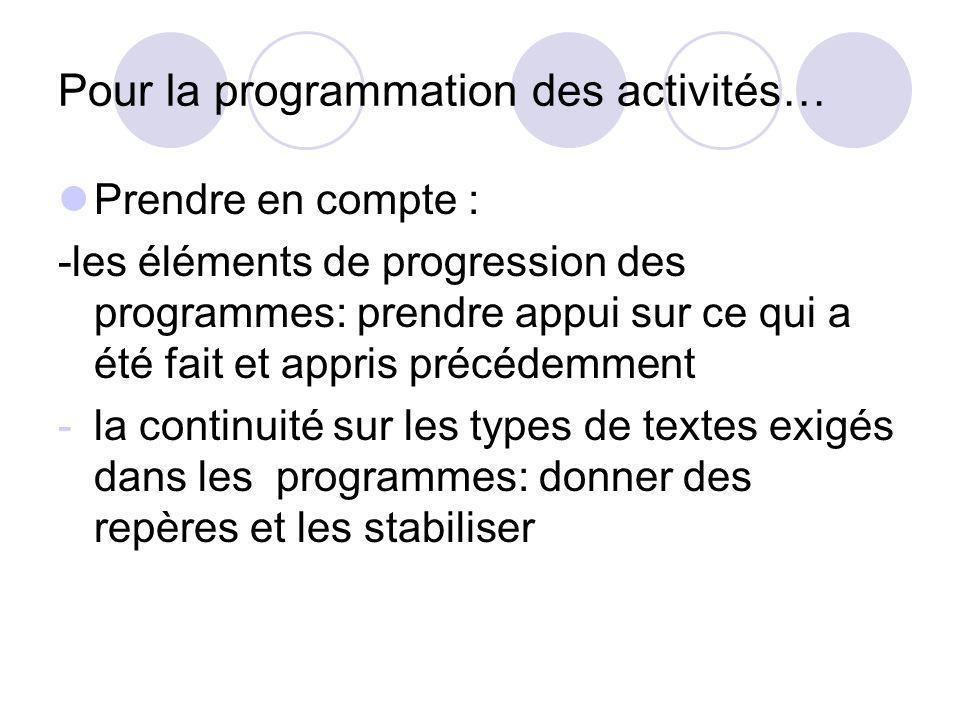 Pour la programmation des activités… Prendre en compte : -les éléments de progression des programmes: prendre appui sur ce qui a été fait et appris pr