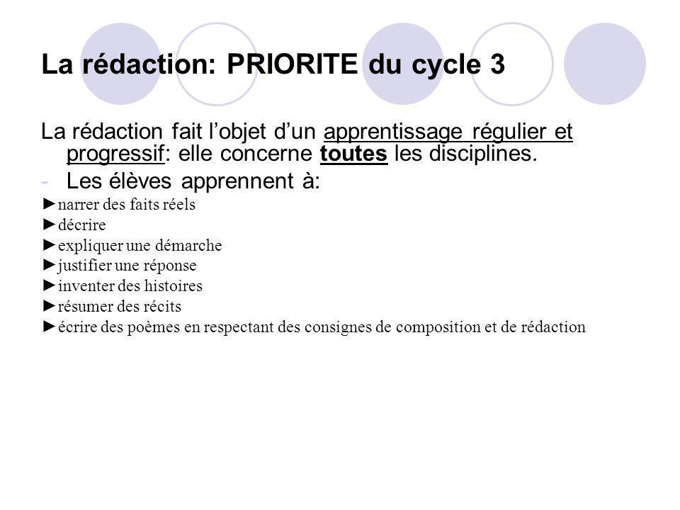 La rédaction: PRIORITE du cycle 3 La rédaction fait lobjet dun apprentissage régulier et progressif: elle concerne toutes les disciplines. -Les élèves