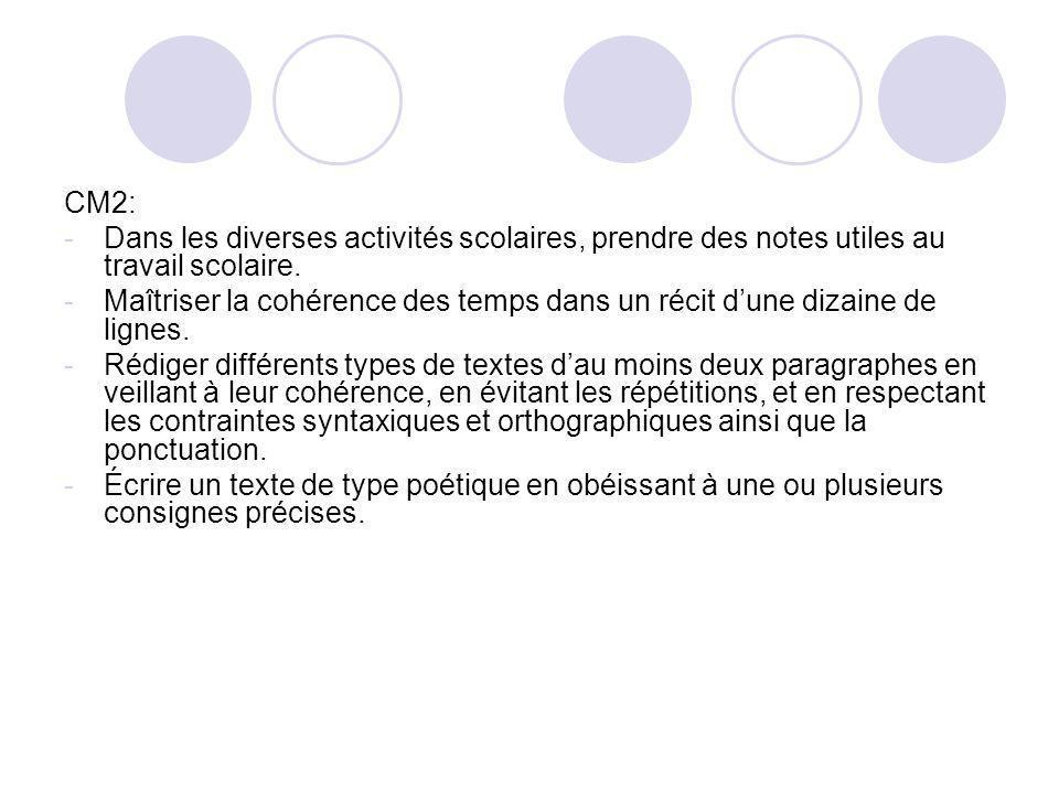 CM2: -Dans les diverses activités scolaires, prendre des notes utiles au travail scolaire. -Maîtriser la cohérence des temps dans un récit dune dizain