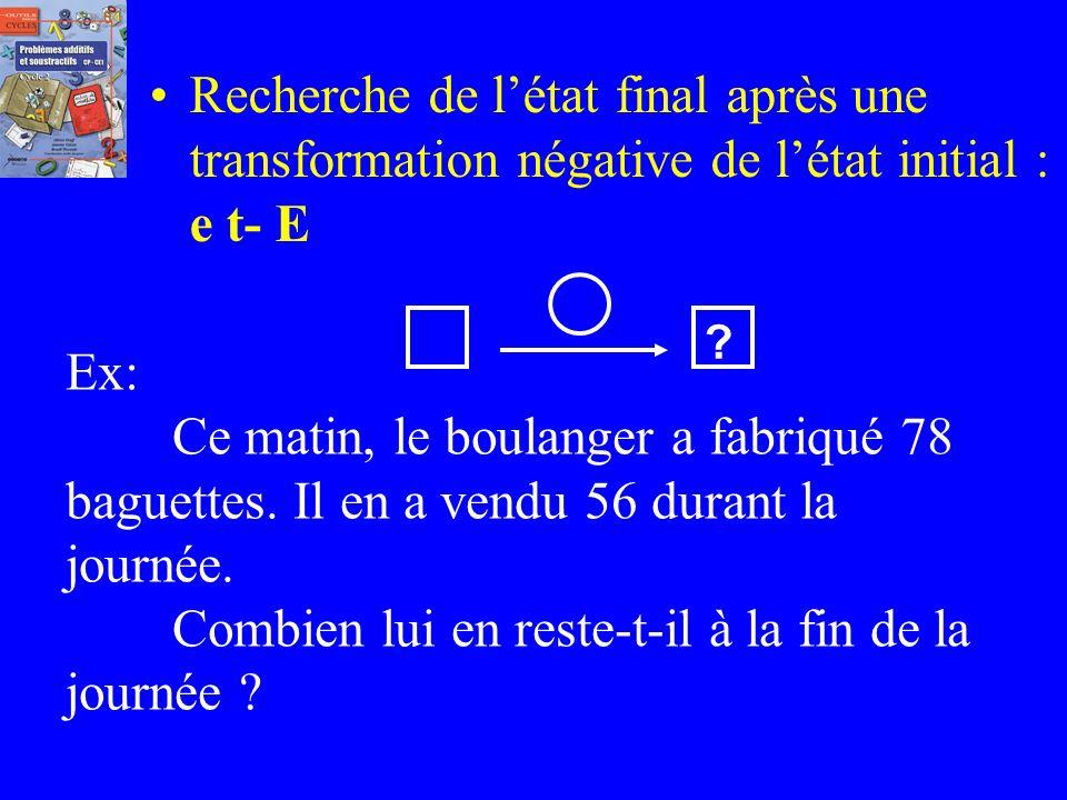 Recherche de létat final après une transformation positive de létat initial :e t+ E Ex: Au début de la récréation, Pierre a 27 billes. Il joue avec Ju