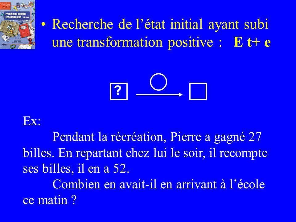 Recherche de la transformation négative connaissant létat initial et létat final : e T- e Ex: Ce matin, Pierre avait 27 billes. En repartant chez lui