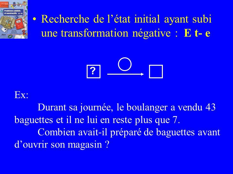 Recherche de létat initial ayant subi une transformation positive : E t+ e Ex: Pendant la récréation, Pierre a gagné 27 billes. En repartant chez lui