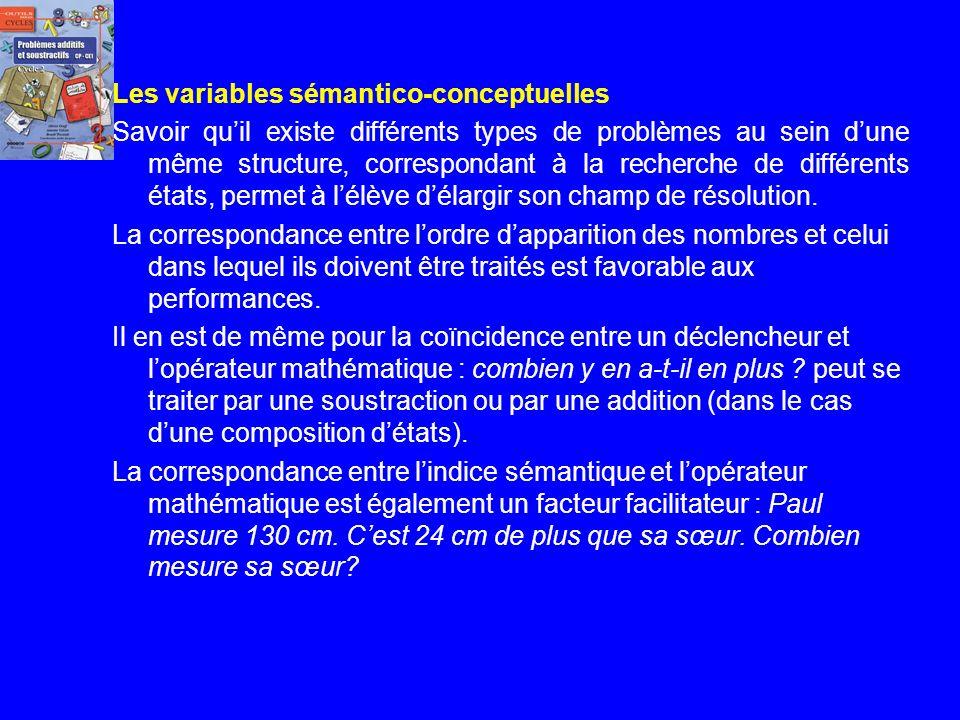 Quelques paramètres Les variables rhétoriques – Les indices sémantiques présents dans lénoncé comme donne, vend, achète favorisent ou complexifient la
