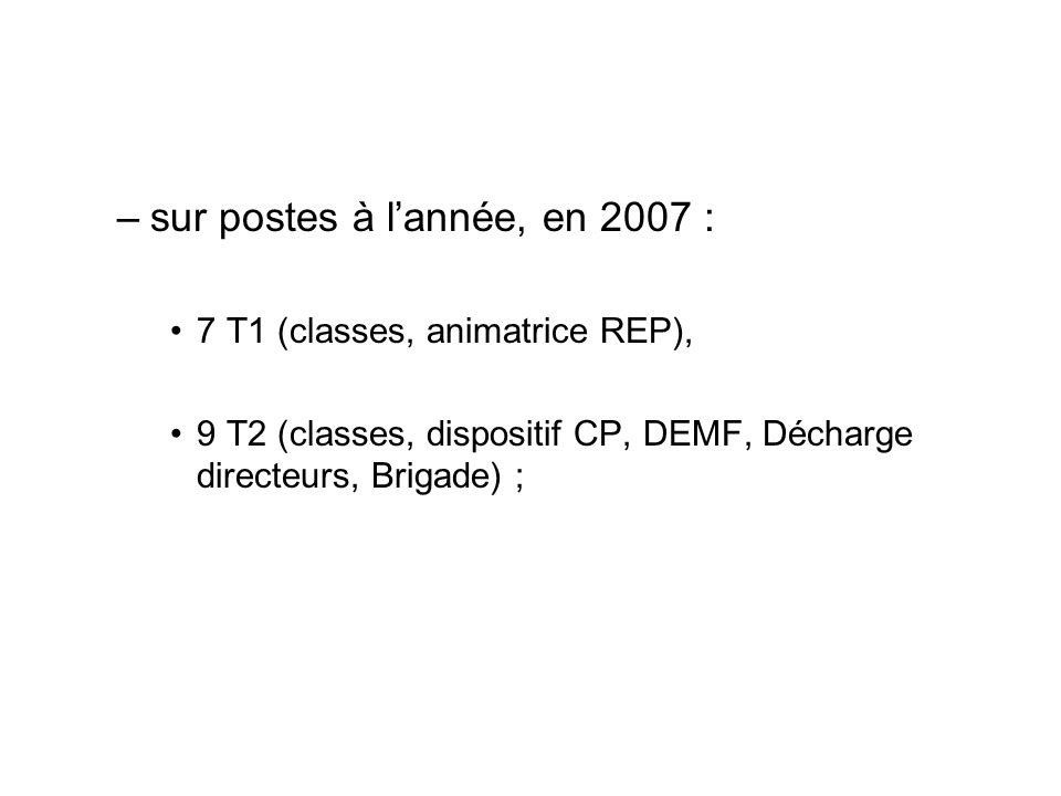 –sur postes à lannée, en 2007 : 7 T1 (classes, animatrice REP), 9 T2 (classes, dispositif CP, DEMF, Décharge directeurs, Brigade) ;