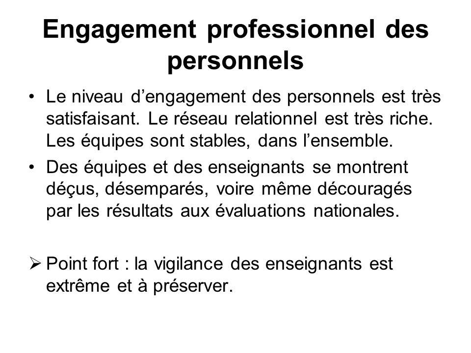 Engagement professionnel des personnels Le niveau dengagement des personnels est très satisfaisant. Le réseau relationnel est très riche. Les équipes
