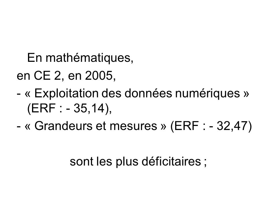 En mathématiques, en CE 2, en 2005, - « Exploitation des données numériques » (ERF : - 35,14), - « Grandeurs et mesures » (ERF : - 32,47) sont les plus déficitaires ;