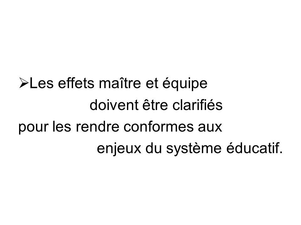 Les effets maître et équipe doivent être clarifiés pour les rendre conformes aux enjeux du système éducatif.
