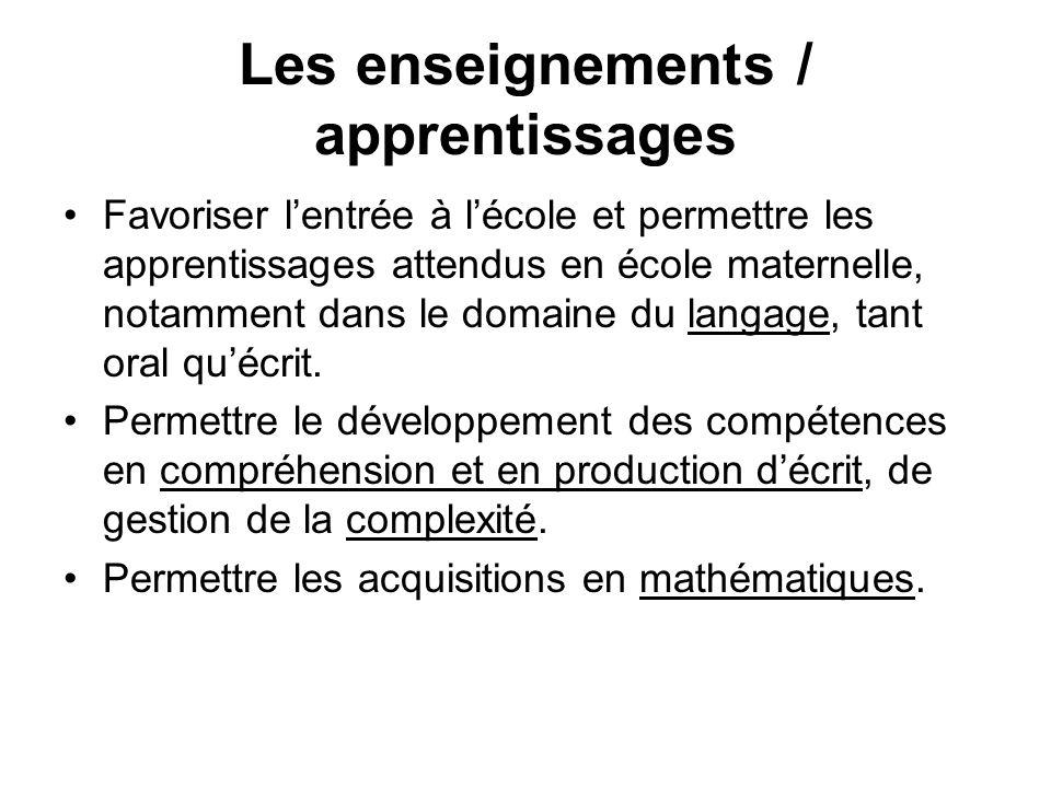 Les enseignements / apprentissages Favoriser lentrée à lécole et permettre les apprentissages attendus en école maternelle, notamment dans le domaine