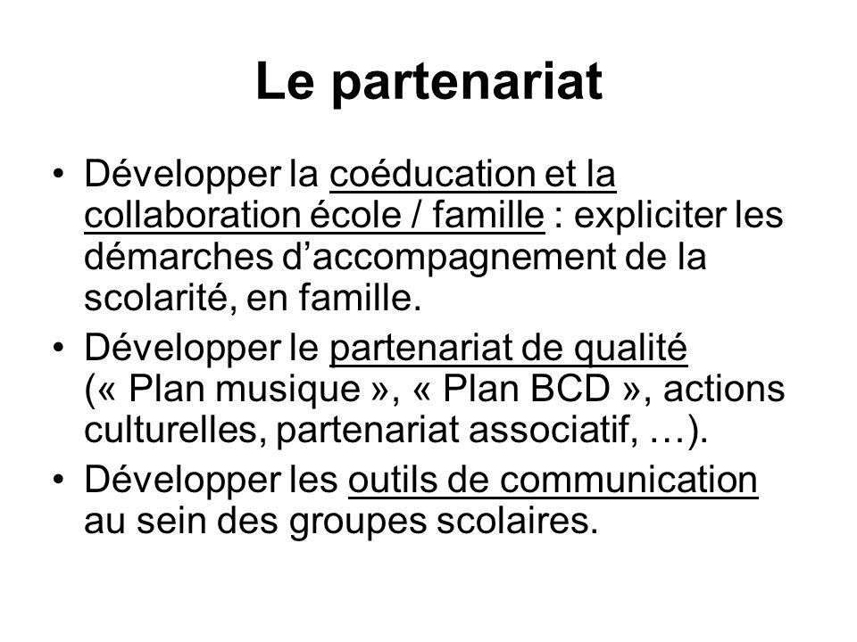 Le partenariat Développer la coéducation et la collaboration école / famille : expliciter les démarches daccompagnement de la scolarité, en famille. D
