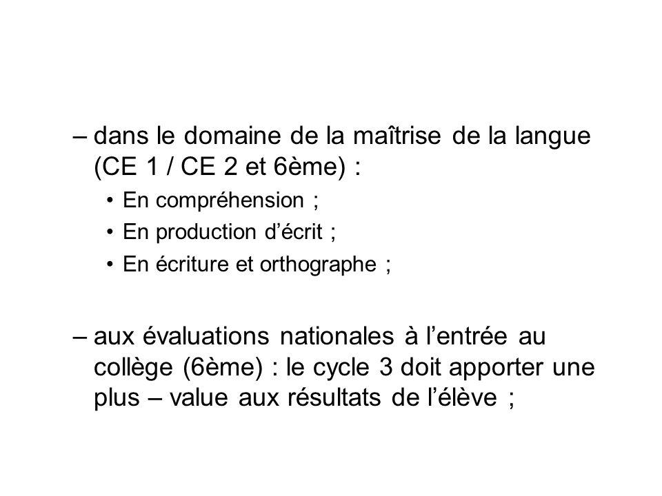 –dans le domaine de la maîtrise de la langue (CE 1 / CE 2 et 6ème) : En compréhension ; En production décrit ; En écriture et orthographe ; –aux évalu