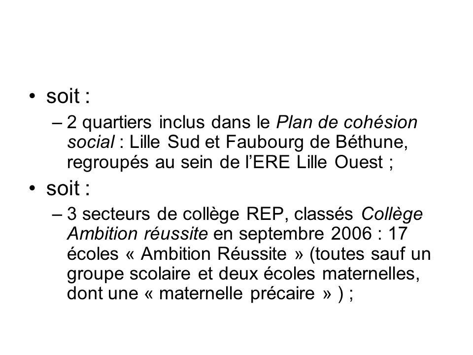 soit : –2 quartiers inclus dans le Plan de cohésion social : Lille Sud et Faubourg de Béthune, regroupés au sein de lERE Lille Ouest ; soit : –3 secte