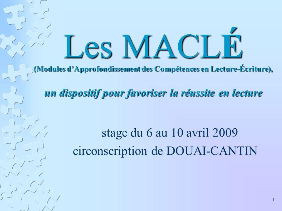 Les MACLÉ (Modules dApprofondissement des Compétences en Lecture-Écriture), un dispositif pour favoriser la réussite en lecture stage du 6 au 10 avril