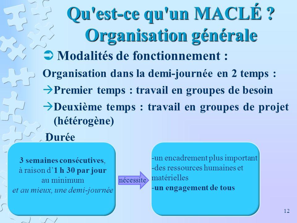 Qu'est-ce qu'un MACLÉ ? Organisation générale Modalités de fonctionnement : Organisation dans la demi-journée en 2 temps : Premier temps : travail en