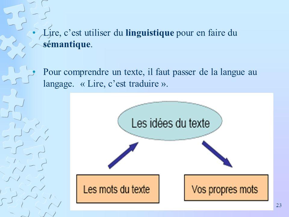 Lire, cest utiliser du linguistique pour en faire du sémantique. Pour comprendre un texte, il faut passer de la langue au langage. « Lire, cest tradui