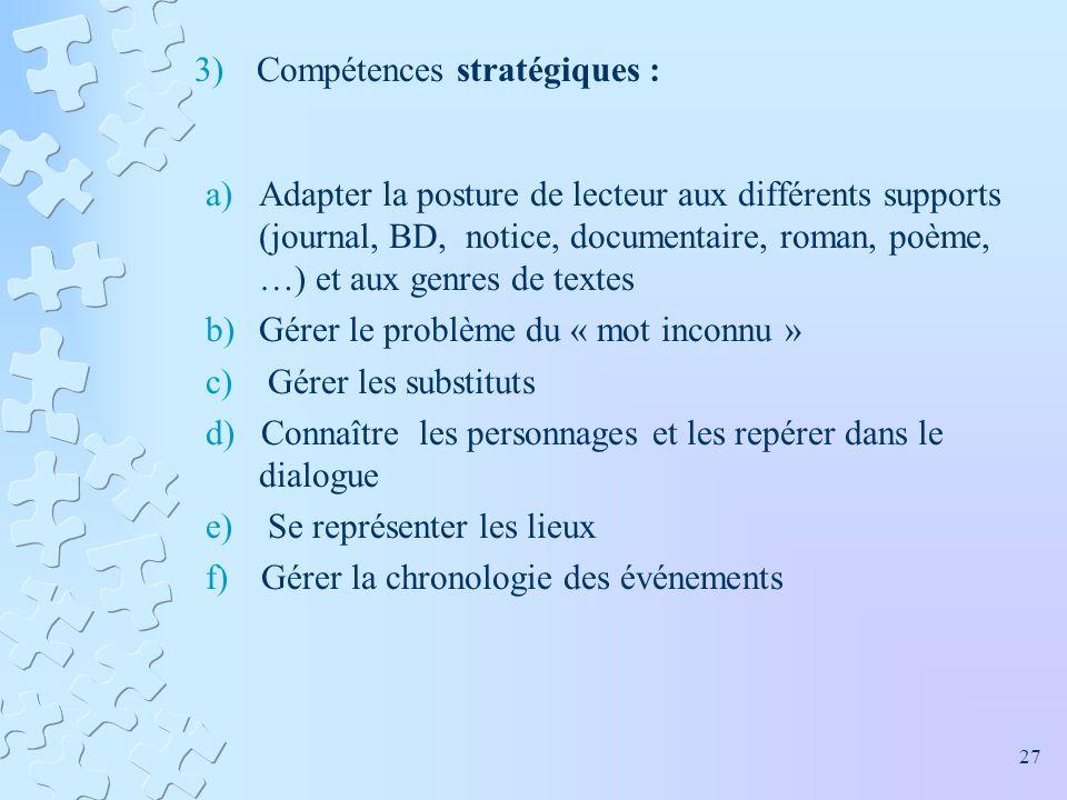 3)Compétences stratégiques : a)Adapter la posture de lecteur aux différents supports (journal, BD, notice, documentaire, roman, poème, …) et aux genre