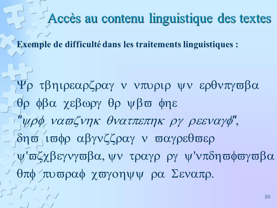 Accès au contenu linguistique des textes Exemple de difficulté dans les traitements linguistiques :