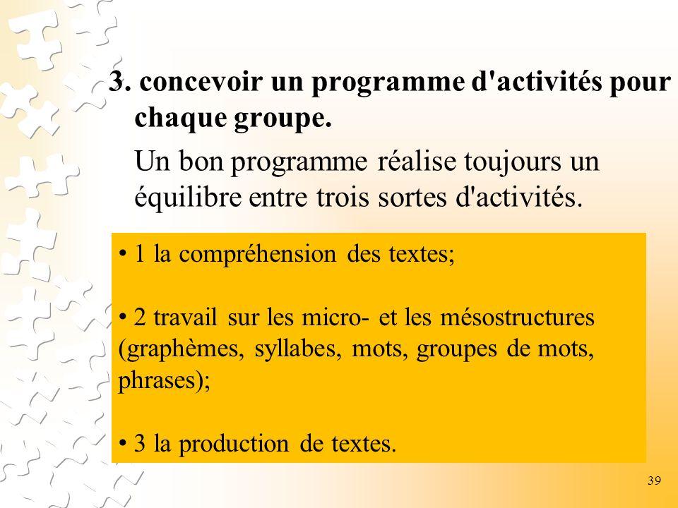 3. concevoir un programme d'activités pour chaque groupe. Un bon programme réalise toujours un équilibre entre trois sortes d'activités. 1 la compréhe
