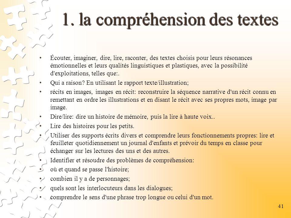 1. la compréhension des textes 1. la compréhension des textes Écouter, imaginer, dire, lire, raconter, des textes choisis pour leurs résonances émotio
