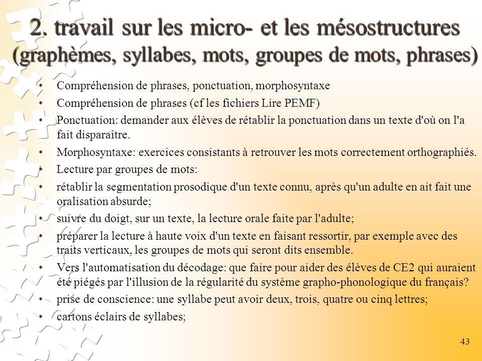 2. travail sur les micro- et les mésostructures (graphèmes, syllabes, mots, groupes de mots, phrases) Compréhension de phrases, ponctuation, morphosyn