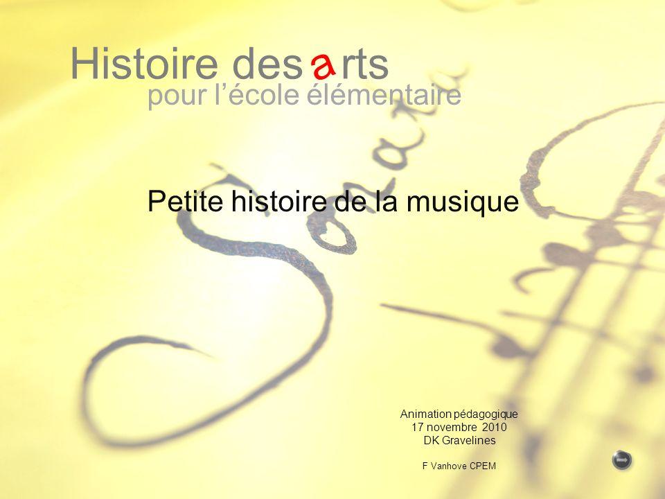 pour lécole élémentaire Petite histoire de la musique Histoire des rts a Animation pédagogique 17 novembre 2010 DK Gravelines F Vanhove CPEM