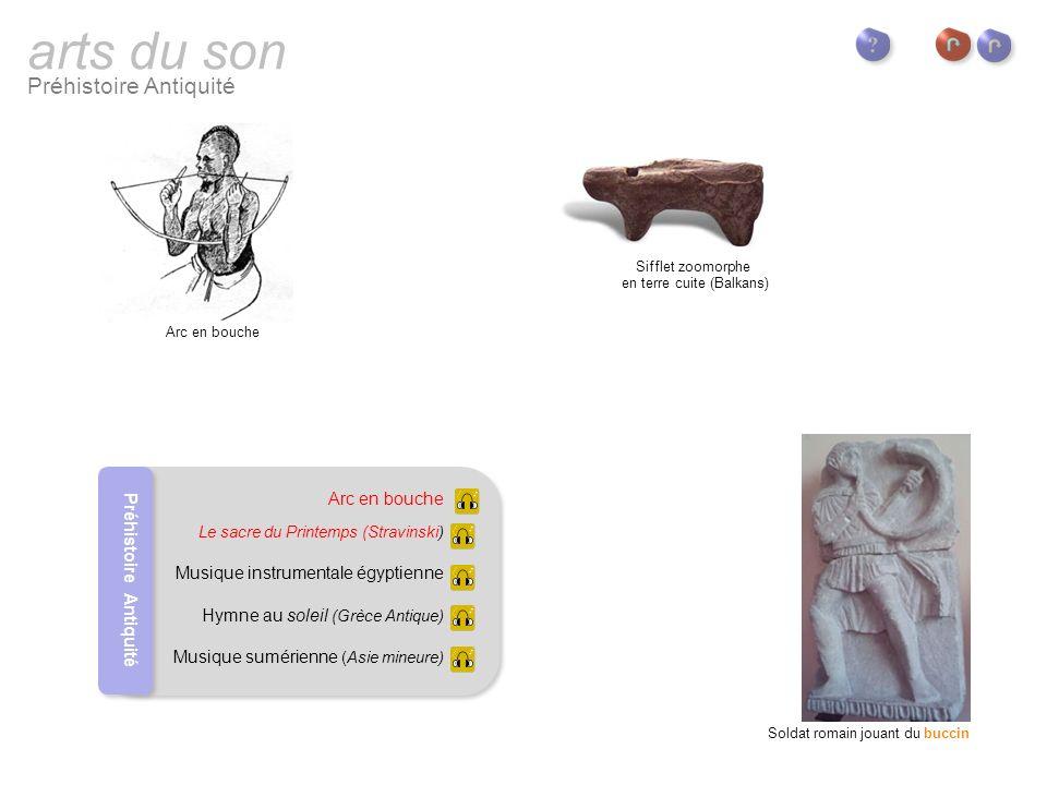 arts du son Préhistoire Antiquité Buccin : instrument de la famille des cuivres en usage dans larmée romaine.