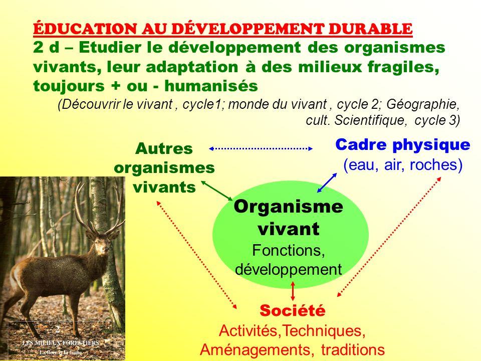 ÉDUCATION AU DÉVELOPPEMENT DURABLE 2 d – Etudier le développement des organismes vivants, leur adaptation à des milieux fragiles, toujours + ou - huma
