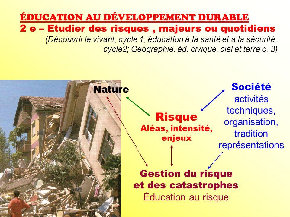 ÉDUCATION AU DÉVELOPPEMENT DURABLE 2 e – Etudier des risques, majeurs ou quotidiens (Découvrir le vivant, cycle 1; éducation à la santé et à la sécuri