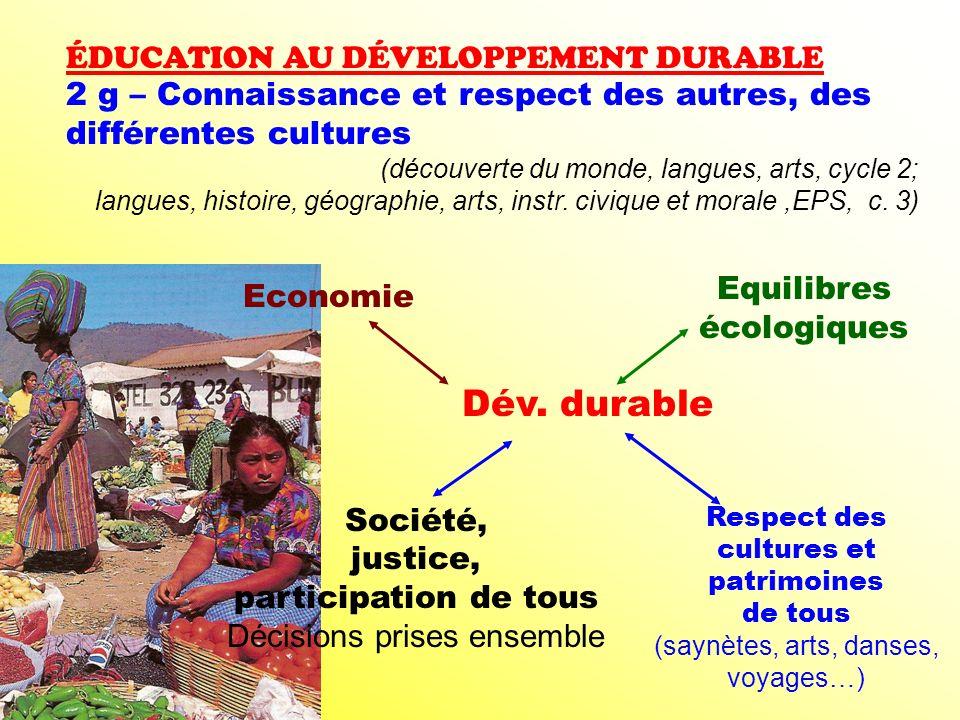 ÉDUCATION AU DÉVELOPPEMENT DURABLE 2 g – Connaissance et respect des autres, des différentes cultures (découverte du monde, langues, arts, cycle 2; la
