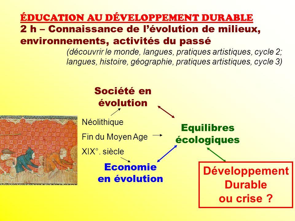 ÉDUCATION AU DÉVELOPPEMENT DURABLE 2 h – Connaissance de lévolution de milieux, environnements, activités du passé (découvrir le monde, langues, prati