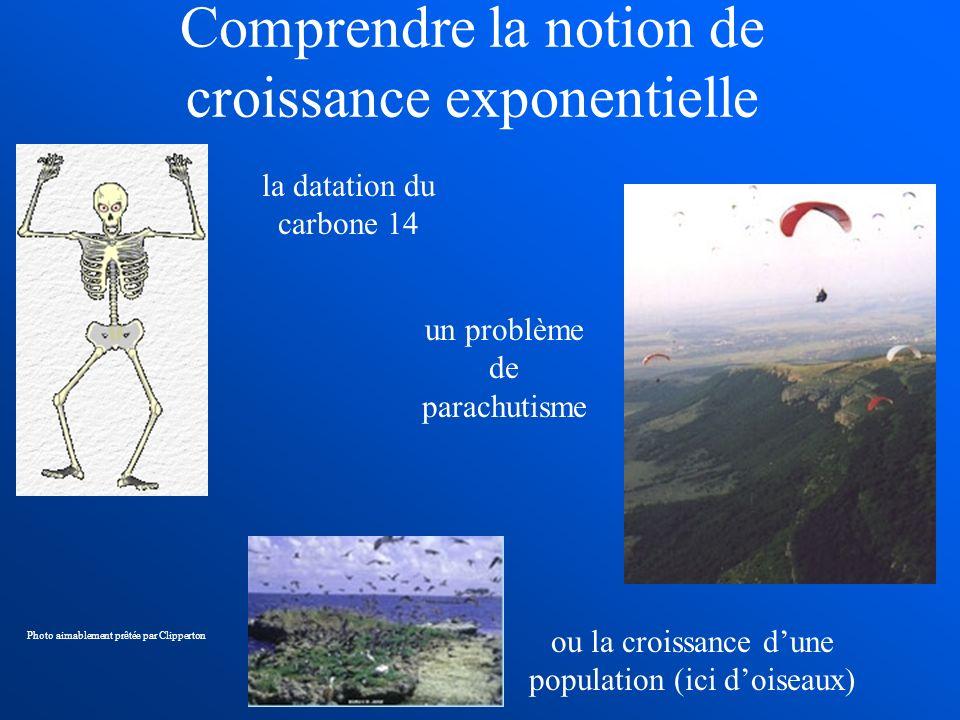 Comprendre la notion de croissance exponentielle la datation du carbone 14 un problème de parachutisme ou la croissance dune population (ici doiseaux)