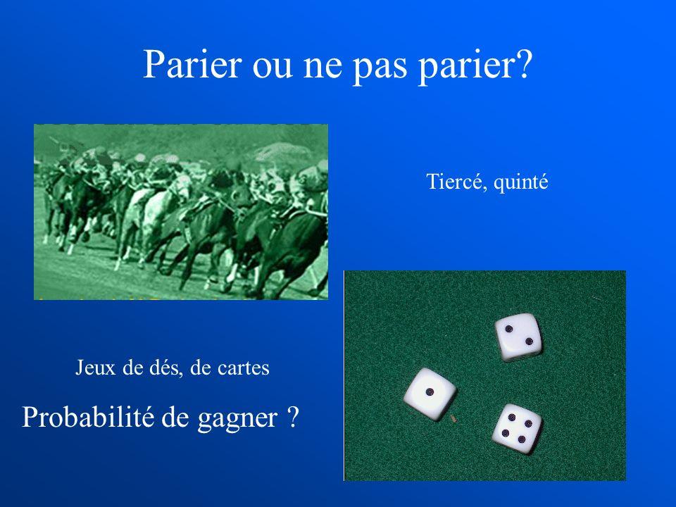 Parier ou ne pas parier? Tiercé, quinté Jeux de dés, de cartes Probabilité de gagner ?