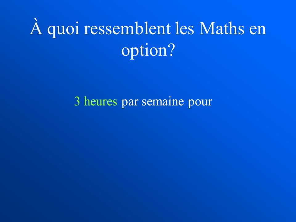 À quoi ressemblent les Maths en option? 3 heures par semaine pour
