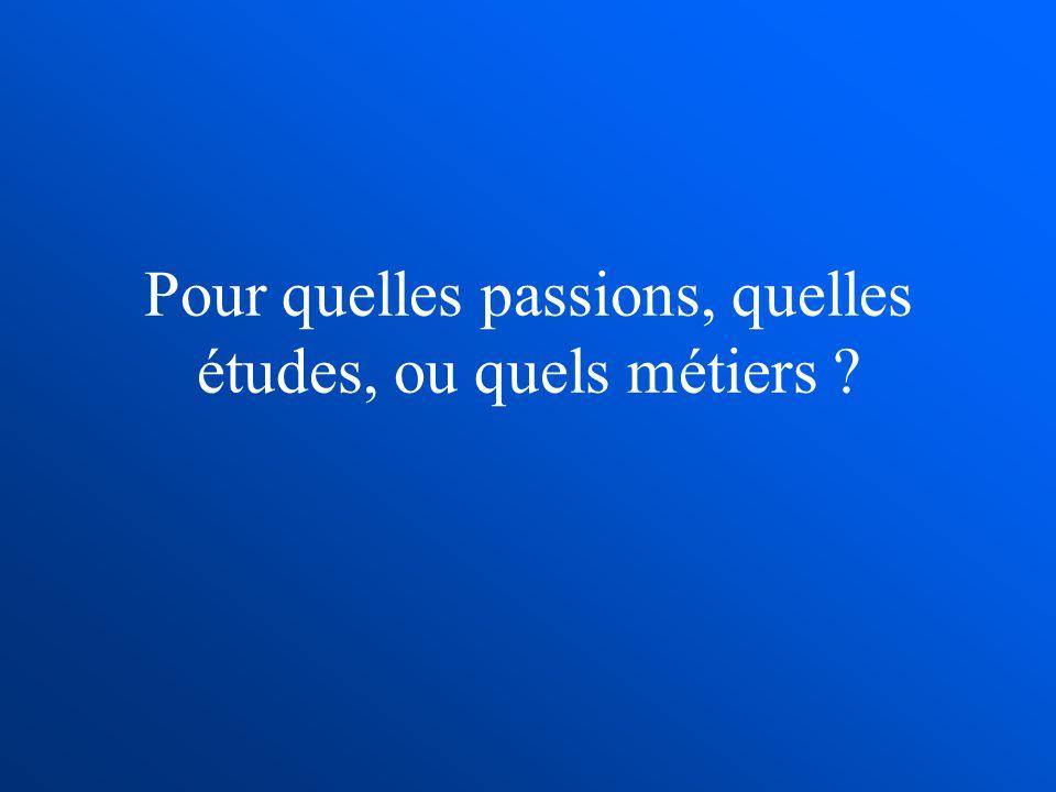 Pour quelles passions, quelles études, ou quels métiers ?