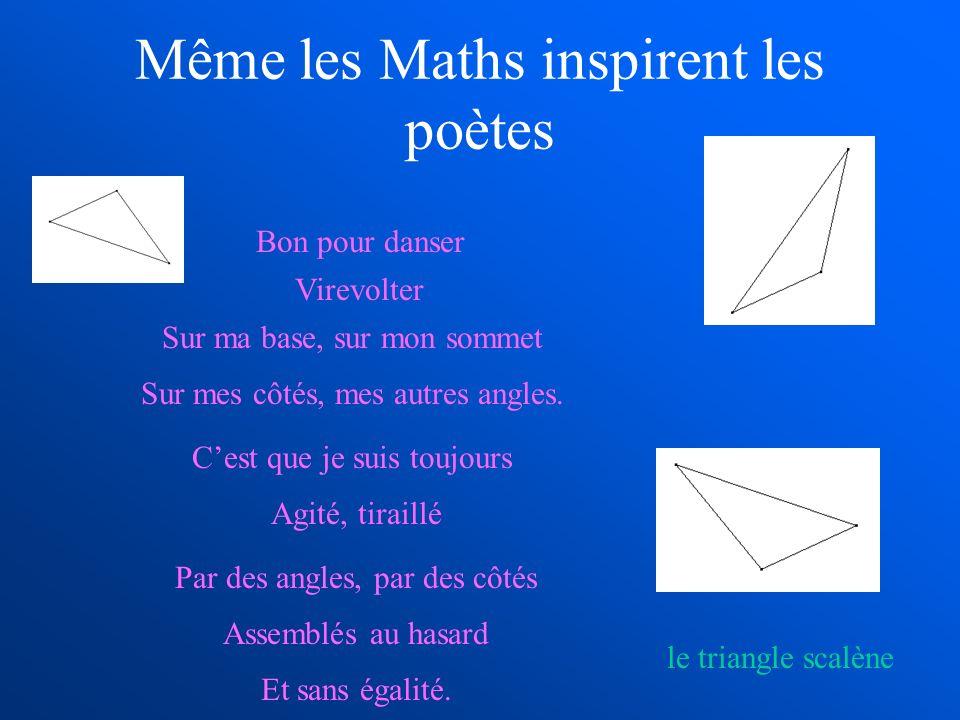 Même les Maths inspirent les poètes Bon pour danser Virevolter Sur ma base, sur mon sommet Sur mes côtés, mes autres angles. Cest que je suis toujours