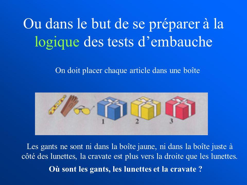 Ou dans le but de se préparer à la logique des tests dembauche Les gants ne sont ni dans la boîte jaune, ni dans la boîte juste à côté des lunettes, l