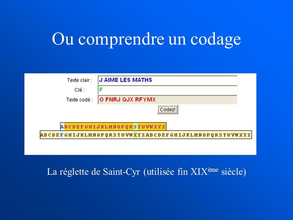 Ou comprendre un codage La réglette de Saint-Cyr (utilisée fin XIX ème siècle)