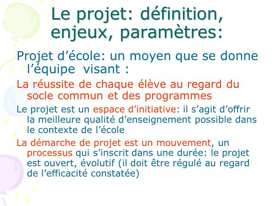 Le projet: définition, enjeux, paramètres: Projet décole: un moyen que se donne léquipe visant : La réussite de chaque élève au regard du socle commun