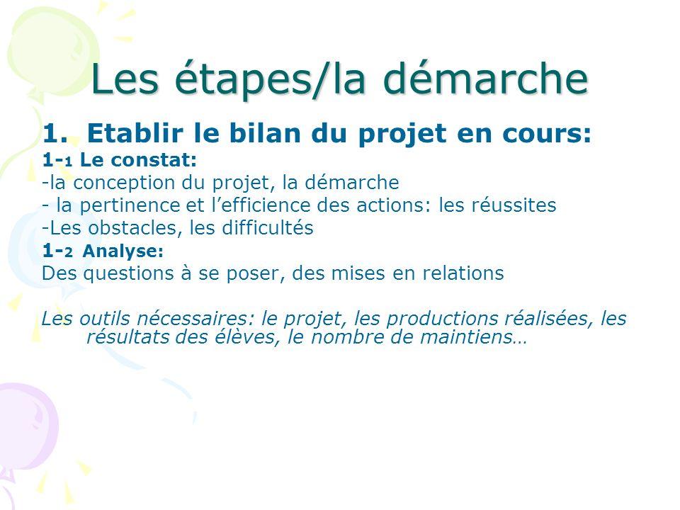 Les étapes/la démarche 1.Etablir le bilan du projet en cours: 1- 1 Le constat: -la conception du projet, la démarche - la pertinence et lefficience de