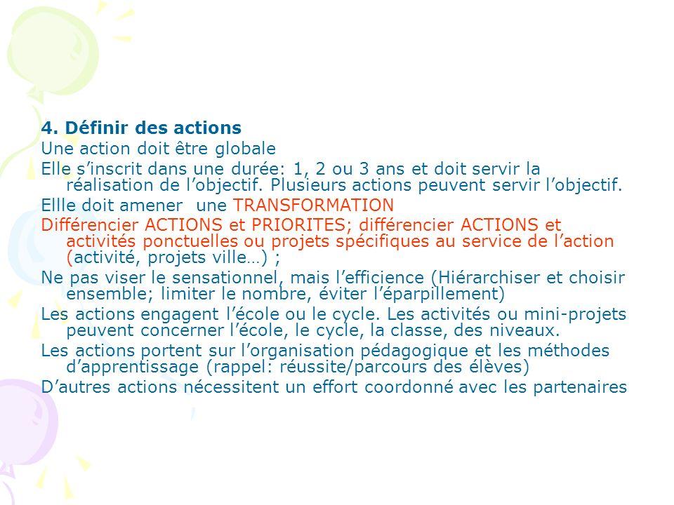 4. Définir des actions Une action doit être globale Elle sinscrit dans une durée: 1, 2 ou 3 ans et doit servir la réalisation de lobjectif. Plusieurs