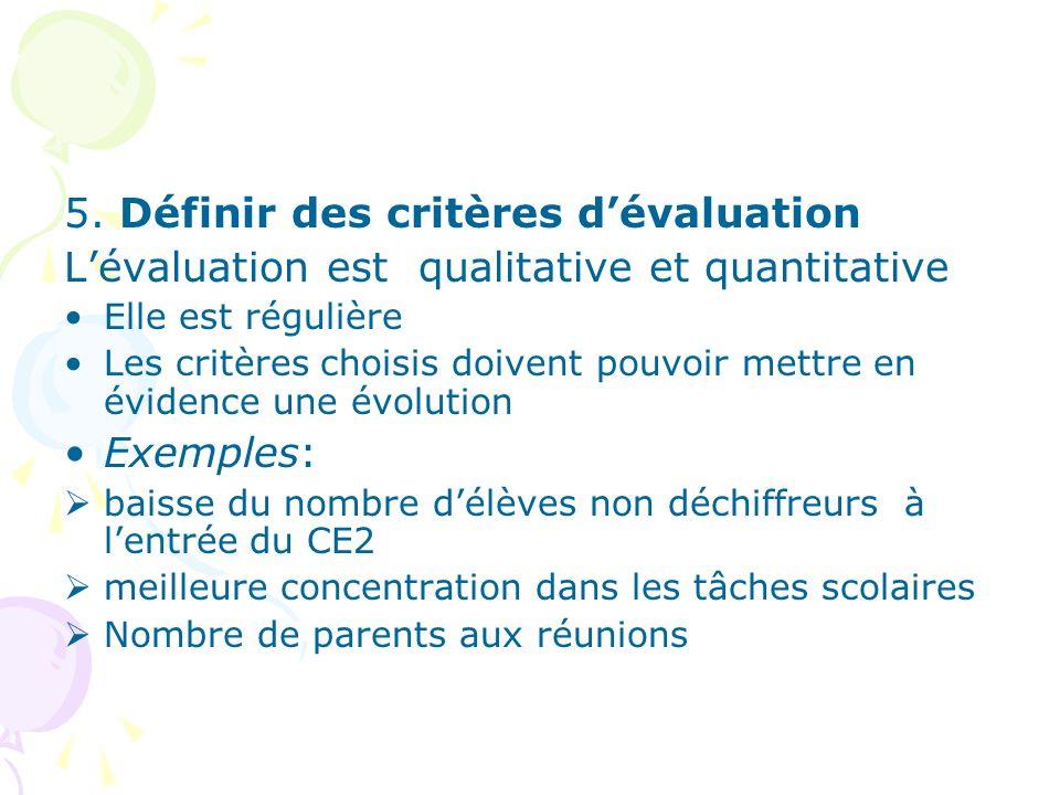 5. Définir des critères dévaluation Lévaluation est qualitative et quantitative Elle est régulière Les critères choisis doivent pouvoir mettre en évid