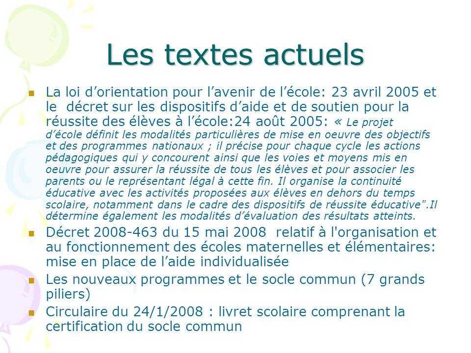 La loi dorientation pour lavenir de lécole: 23 avril 2005 et le décret sur les dispositifs daide et de soutien pour la réussite des élèves à lécole:24
